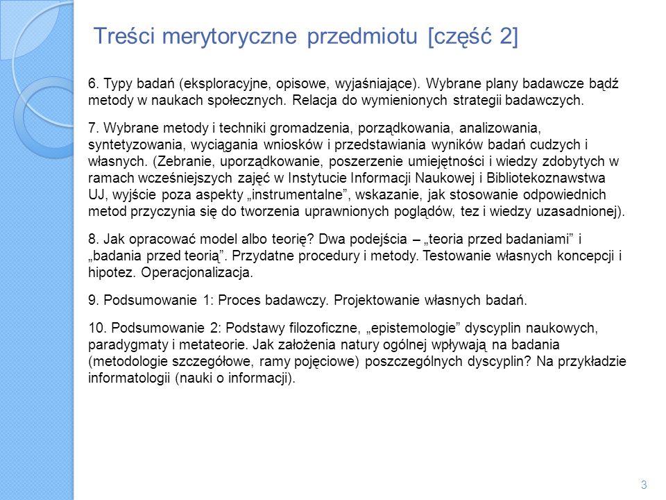 Treści merytoryczne przedmiotu [część 2]